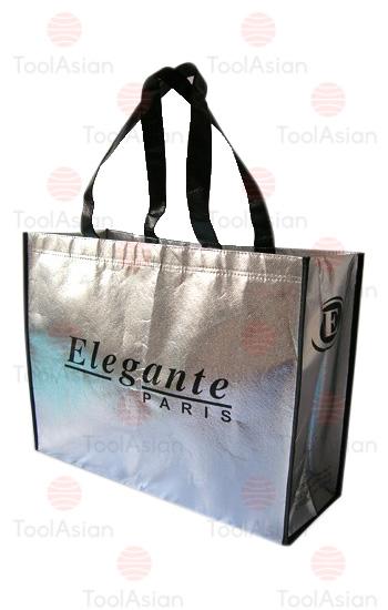 silver metallic non woven shopping bags